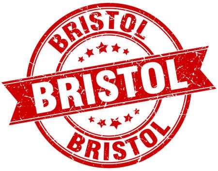 bristol: Bristol red round grunge vintage ribbon stamp