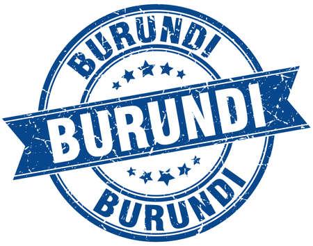 burundi: Burundi blue round grunge vintage ribbon stamp