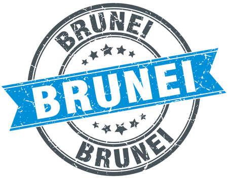 brunei: Brunei blue round grunge vintage ribbon stamp