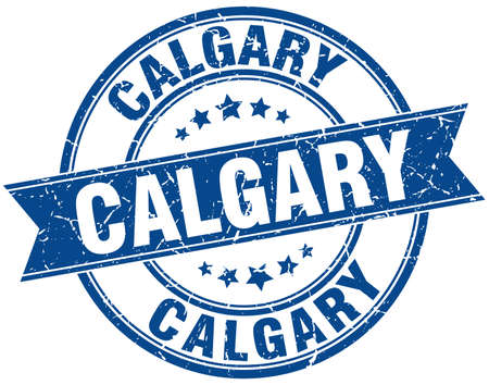 calgary: Calgary blue round grunge vintage ribbon stamp Illustration