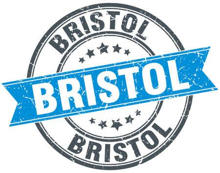 bristol: Bristol blue round grunge vintage ribbon stamp