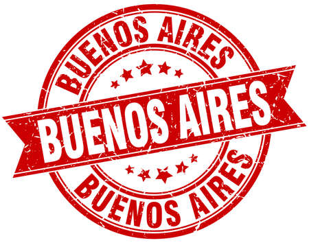 buenos aires: Buenos Aires red round grunge vintage ribbon stamp