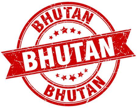 bhutan: Bhutan red round grunge vintage ribbon stamp