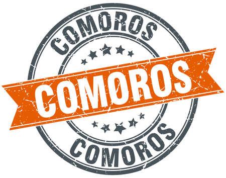 comoros: Comoros red round grunge vintage ribbon stamp