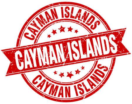cayman: Cayman Islands red round grunge vintage ribbon stamp