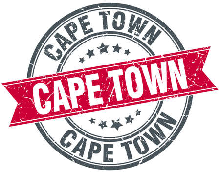 cape town: Cape Town red round grunge vintage ribbon stamp