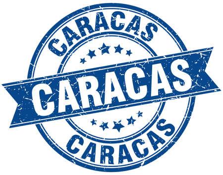 caracas: Caracas blue round grunge vintage ribbon stamp Illustration