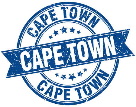 cape town: Cape Town blue round grunge vintage ribbon stamp