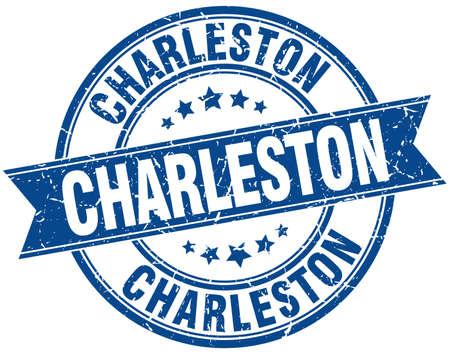 in charleston: Charleston blue round grunge vintage ribbon stamp Illustration