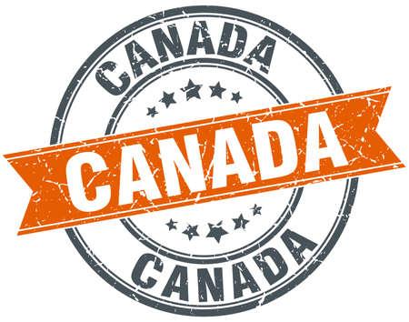 canada stamp: Canada red round grunge vintage ribbon stamp