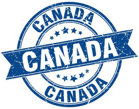 canada stamp: Canada blue round grunge vintage ribbon stamp