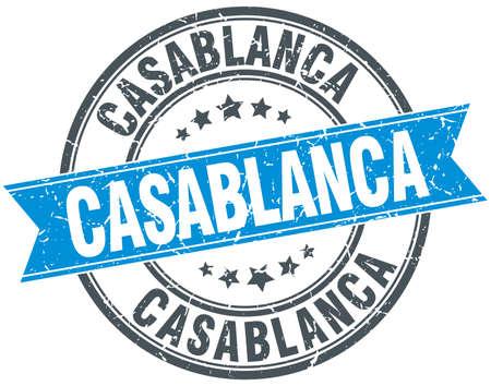 rubber band: Casablanca blue round grunge vintage ribbon stamp Illustration