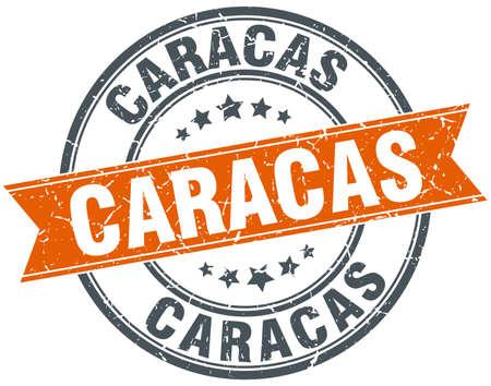 caracas: Caracas red round grunge vintage ribbon stamp