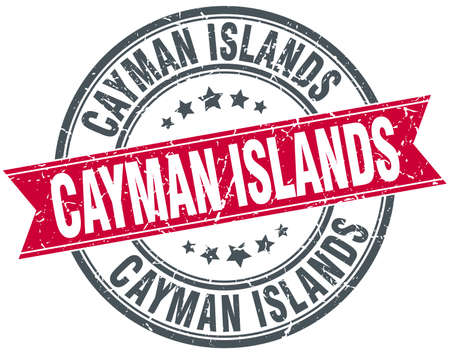 cayman islands: Cayman Islands red round grunge vintage ribbon stamp