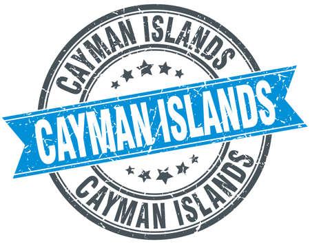 cayman islands: Cayman Islands blue round grunge vintage ribbon stamp