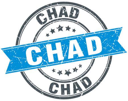 chad: Chad blue round grunge vintage ribbon stamp
