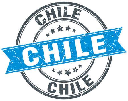 chile: Chile blue round grunge vintage ribbon stamp Illustration