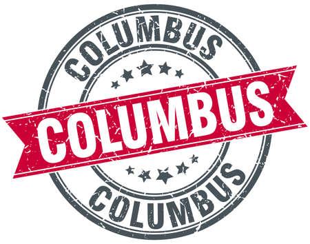columbus: Columbus red round grunge vintage ribbon stamp Illustration