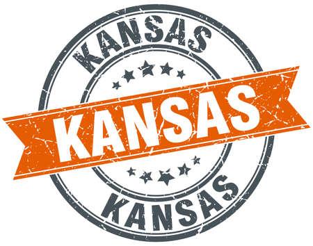 KANSAS: Kansas red round grunge vintage ribbon stamp