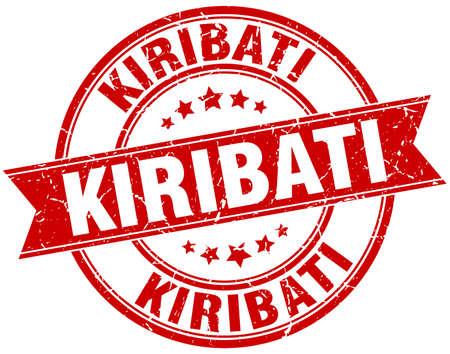 kiribati: Kiribati red round grunge vintage ribbon stamp