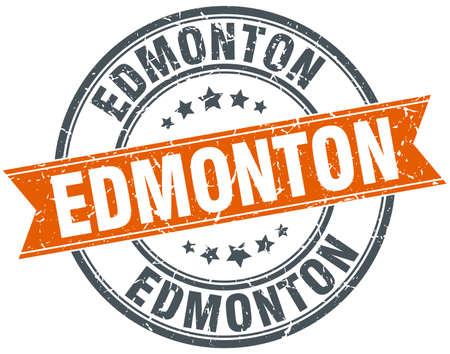 edmonton: Edmonton red round grunge vintage ribbon stamp