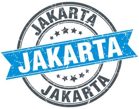 jakarta: Jakarta blue round grunge vintage ribbon stamp Illustration