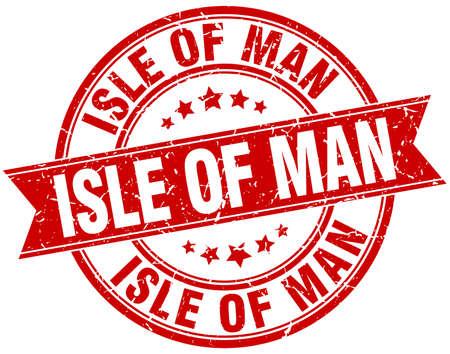 isles: Isle Of Man red round grunge vintage ribbon stamp Illustration