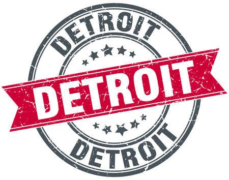 detroit: Detroit red round grunge vintage ribbon stamp Illustration