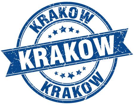 krakow: Krakow blue round grunge vintage ribbon stamp