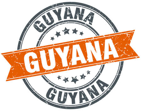 rubber band: Guyana red round grunge vintage ribbon stamp Illustration