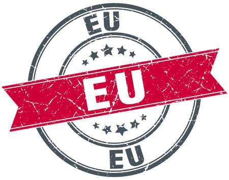 eu: eu red round grunge vintage ribbon stamp