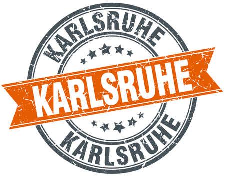 karlsruhe: Karlsruhe red round grunge vintage ribbon stamp