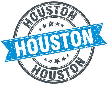 houston: Houston blue round grunge vintage ribbon stamp