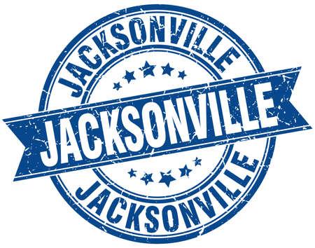 jacksonville: Jacksonville blue round grunge vintage ribbon stamp