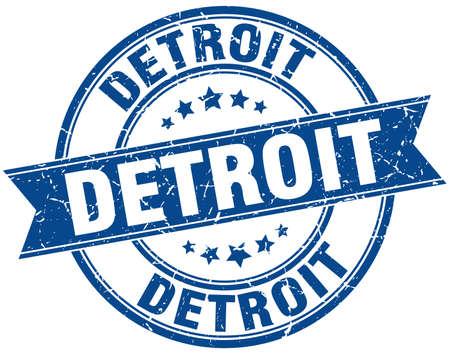 detroit: Detroit blue round grunge vintage ribbon stamp