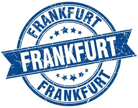 frankfurt: Frankfurt blue round grunge vintage ribbon stamp