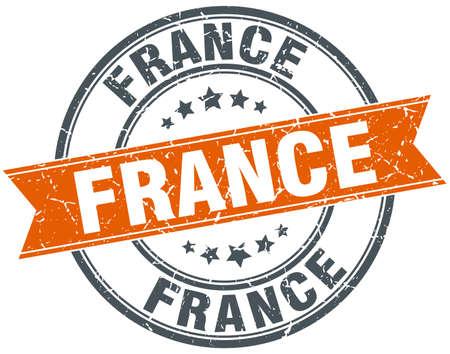 france stamp: France red round grunge vintage ribbon stamp Illustration