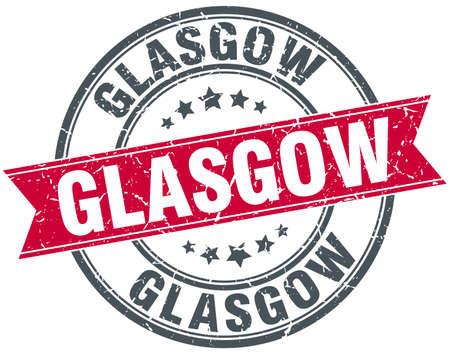 glasgow: Glasgow red round grunge vintage ribbon stamp