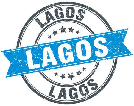 lagos: Lagos blue round grunge vintage ribbon stamp