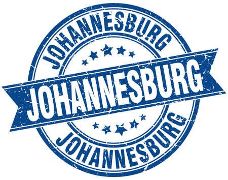johannesburg: Johannesburg blue round grunge vintage ribbon stamp Illustration