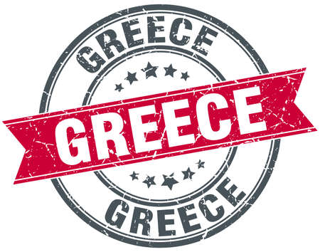 greece stamp: Greece red round grunge vintage ribbon stamp