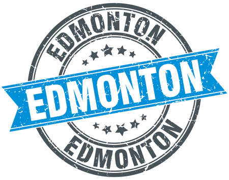 edmonton: Edmonton blue round grunge vintage ribbon stamp Illustration