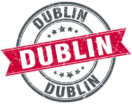dublin: Dublin red round grunge vintage ribbon stamp