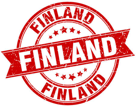 rubber band: Finland red round grunge vintage ribbon stamp