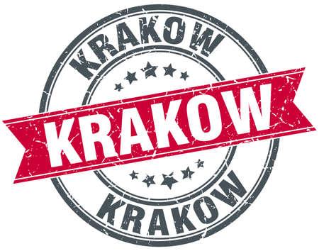 krakow: Krakow red round grunge vintage ribbon stamp Illustration