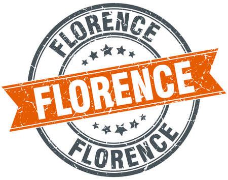 florence: Florence red round grunge vintage ribbon stamp