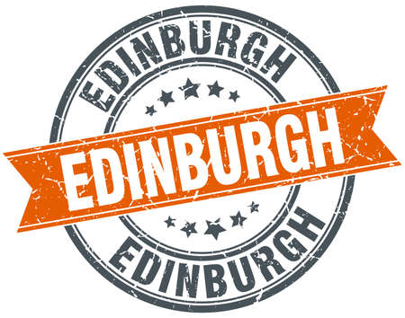 edinburgh: Edinburgh red round grunge vintage ribbon stamp