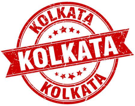 kolkata: Kolkata red round grunge vintage ribbon stamp