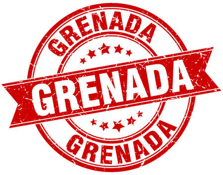 grenada: Grenada red round grunge vintage ribbon stamp