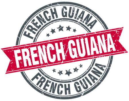 guiana: French Guiana red round grunge vintage ribbon stamp